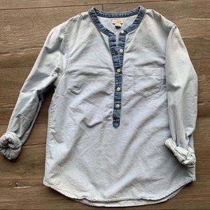 Women's J. Crew Chambray Button Down Blouse Shirt